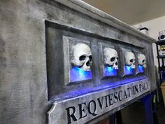 dollar store skulls with led christmas lights (Shingle Creek Manor)