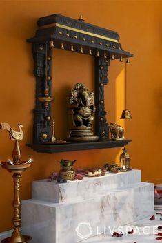 Pooja Room Door Design, Home Room Design, Home Design Decor, House Design, India Home Decor, Ethnic Home Decor, Temple Design For Home, Home Decor Hooks, Mandir Design