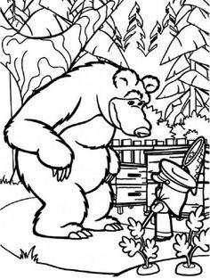masha and bear coloring pages