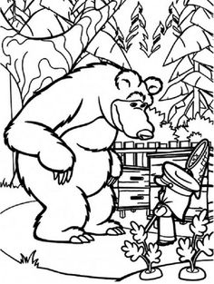 masha and bear coloring pages