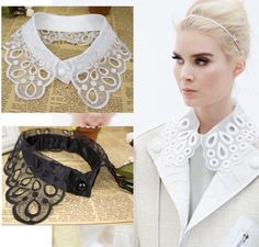 New fashion fake fake collar for women hollow lace fashion … – Pet Supplies Crochet Collar, Lace Collar, Collar And Cuff, Collar Necklace, White Collar, Diy Fashion, Ideias Fashion, Fashion Hacks, Fashion Tips