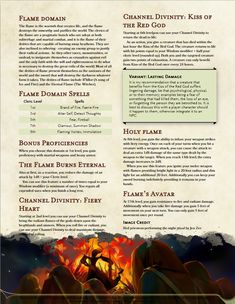 [Subclass] Flame Domain, play as a fiery warrior and bring your allies back to life with the kiss of your deity - UnearthedArcana Dungeons And Dragons Classes, Dungeons And Dragons Homebrew, Cleric Domains, Dnd Cleric, Fantasy Character Design, Character Creation, Dnd Classes, Dnd 5e Homebrew, Forgotten Realms
