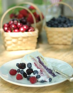 Seasonal summer berries in this cake.  Would be a good one for Fourth of July.