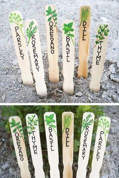 Handmade Herb Markers Set Herb Signs Plant Markers Plant Labels Hand Painted Gift for Gardener Garden Labels, Plant Labels, Herb Labels, Garden Crafts, Garden Projects, Diy Crafts, Herb Markers, Garden Plant Markers, Vegetable Garden Markers