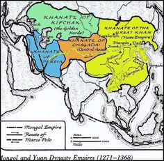 Map of Mongols and Yuan Dynasty Empires (1271-1368)