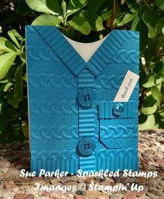 This sweater card gets its texture from SU's new Cable Knit embossing folder Shaped Cards, Embossed Cards, Stamping Up Cards, Fathers Day Cards, Card Tutorials, Winter Cards, Embossing Folder, Masculine Cards, Creative Cards