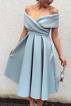 Light blue chiffon off-shoulder A-line knee-length  dress, formal dress  - Thumbnail 1