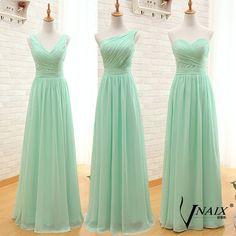 Vnaix BV031 New Arrival grátis frete três estilos A linha simples elegante baratos longo verde da hortelã vestidos dama de honra 2015