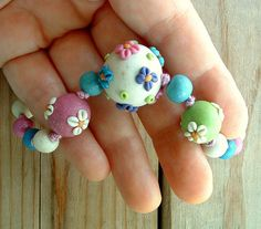 Flower Bead Necklace crochet cord handmade polymer clay by ZudaGay, $12.00