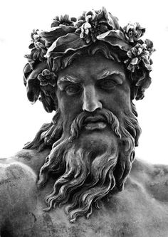 Zeus is the god of the sky, lightning, and the thunder in Ancient Greek religion and legends, and ruler of all the gods on Mount Olympus. Zeus is the sixth child of Kronos and Rhea, king and queen of the Titans. Statue Tattoo, Zeus Tattoo, War Tattoo, Greek Gods And Goddesses, Greek And Roman Mythology, Zeus Statue, Poseidon Statue, Greek Statues, Art Antique