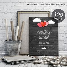 Printable wedding planner on black wood and hearts by ClaireTALE