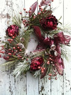 Burgundy Christmas Wreath  Holiday Wreath for by marigoldsdesigns, $68.00