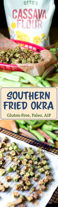 Southern Fried Okra (Gluten-Free, Paleo, AIP, Vegan) — The Curious Coconut - Air Frying Gluten Free Recipes, Beef Recipes, Real Food Recipes, Healthy Recipes, Paleo Food, Vegetarian Cooking, Easy Cooking, Easy Recipes, Paleo Menu