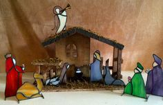 Handmade Stained Glass Nativity Set