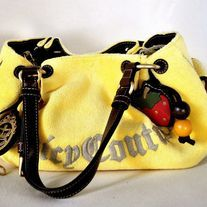 New Juicy Couture Velour Yellow Handbag With Leather Handles Trim Sunshine Hobo W