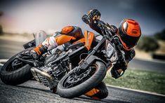 Download wallpapers 4k, KTM 790 Duke, 2018 bikes, rider, superbikes, KTM
