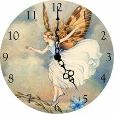 Blue Flower Fairy Wall Clock