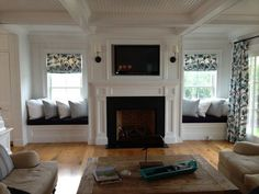 Astounding Useful Ideas: Full Wall Fireplace Remodel old fireplace farmhouse.Fireplace Tile Building fireplace makeover tv above.Faux Fireplace With Tv. Fireplace Seating, Fireplace Built Ins, Diy Fireplace, Living Room With Fireplace, Fireplace Design, New Living Room, My New Room, Living Room Decor, Fireplace Bookshelves