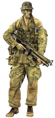 """1970 Miembro patrulla, Nueva Zelanda Special Air Service (NZSAS, Vietnam, 1970. """"Patrol member, 4 Tp NZAS, 1970"""""""