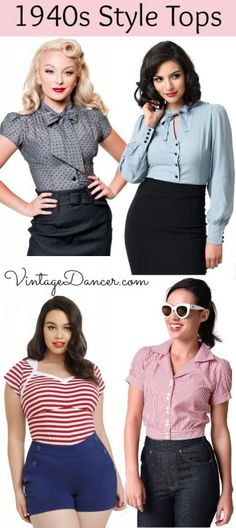 Shop 1940s style tops, shirts and blouses at VintageDancer.com/1940s