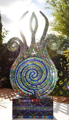 Nikkinella--Mosaic and Neon Light sculpture