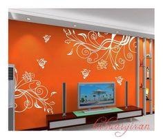 I'm liking the idea of a fun wall decal on a bright color.