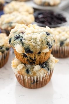 Blueberry Cream Cheese Muffins - easy blueberry muffins filled with cream cheese filling!