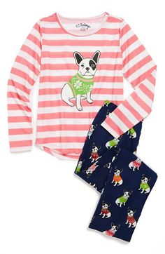 PJ Salvage 'Frenchie' Two-Piece Pajamas (Little Girls & Big Girls) available at #Nordstrom