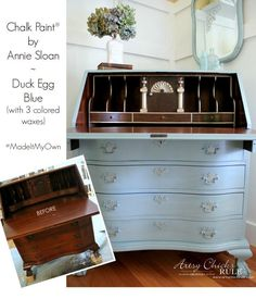 Secretary Desk Makeover w/ Duck Egg Blue & 3 Colored Waxes (Chalk Paint® by Annie Sloan) - Artsy Chicks Rule® Diy Furniture Projects, Chalk Paint Furniture, Furniture Design, Blue Furniture, Wooden Furniture, Chair Design, Desk Makeover, Furniture Makeover, Dresser Makeovers
