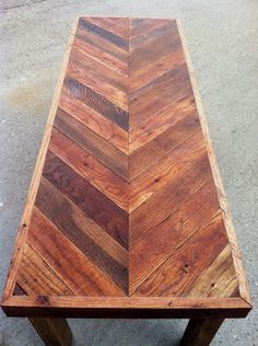 """Another chevron table here; this time it's wider and longer than the """"small chevron table"""" that has already been posted. This chevron coffee table was made out of reclaimed oak fl…"""