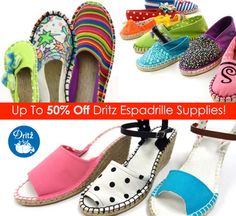 Get half off of all Dritz Sewing Espadrille supplies! Espadrille Shoes, Espadrilles, Shoemaking, 50th, Sewing, Heels, Diy, Fashion, Espadrilles Outfit