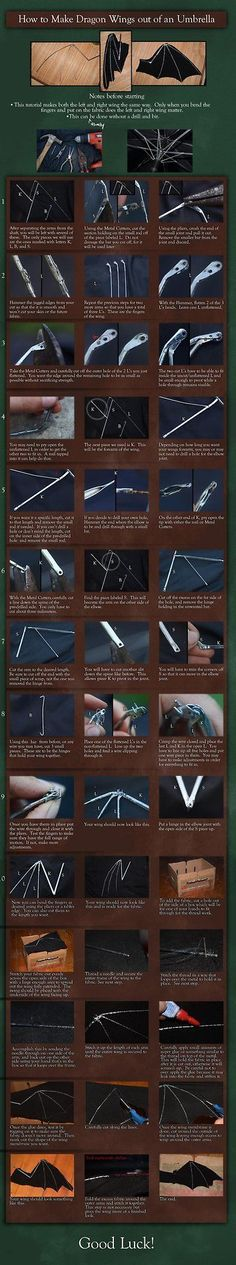 """cosplaytutorial: """" Dragon Wing out of an Umbrella - Tutorial by Aliuh View the full tutorial here: http://aliuh.deviantart.com/art/Dragon-Wing-out-of-an-Umbrella-Tutorial-395707979 """""""