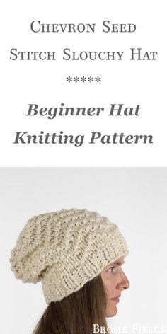 Chevron Seed Stitch Hat Knitting Pattern by Brome Fields 729f608ecc08