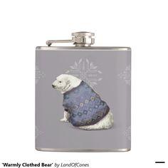 'Warmly Clothed Bear' Hip Flask, #Christmas, #giftidea