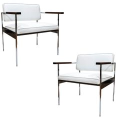 Pair of Polished Steel Retro Chairs