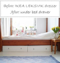 DIY, IKEA hack: transform your Leksvik dresser into some under bed drawers! Tutorial in English and German.