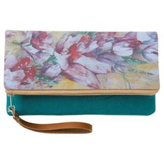 "fold- over clutch "" Flora'' - red gifts color style cyo diy personalize unique"