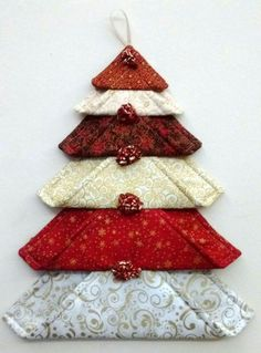 Christmas tree ornament made from fabric squares.