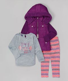 This Purple Hooded Jacket Set - Infant, Toddler & Girls is perfect! #zulilyfinds