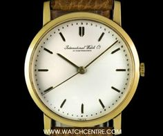 IWC 18k Yellow Gold Cream Dial Manual Wind Vintage Gents Wristwatch