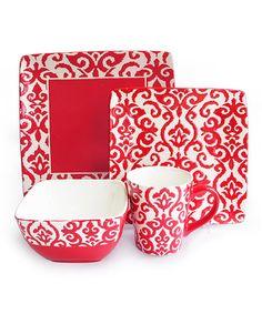 Red Relief Waverly 16-Piece Dinnerware Set