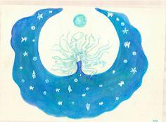 """""""El océano"""" Pintura hecha con acuarelas y acrílicos."""