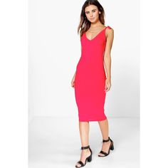 Boohoo Allie Bow Strappy Midi Bodycon Dress ($20) ❤ liked on Polyvore featuring dresses, red, white sequin dress, red cocktail dress, bodycon maxi dress, red party dresses and red dress