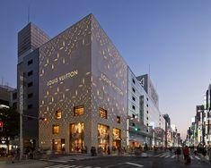 jun aoki's tokyo louis vuitton store features geometrically patterned façades
