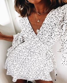 Cute black and white print wrap dress.