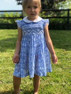 Items similar to Blue and white liberty hand smocked girls party dress on Etsy Girls Holiday Dresses, Girls Party Dress, Little Girl Dresses, Girls Dresses, Baby Dresses, Punto Smok, Smock Dress, Toddler Dress, Couture