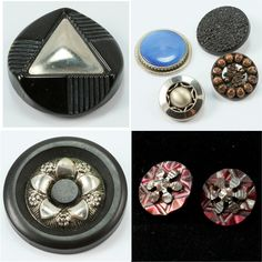 Vintage Focal Buttons Celluloid Metal Art Deco 9 pieces.
