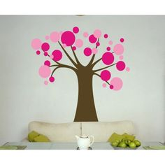 Ok, so it's really a decal, but a clever painter. . . .  Alphabet Garden Designs Polka Dot Candy Tree Wall Decal