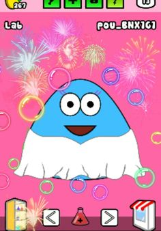 Pou was in lab and made fireworks and toxic bubbles