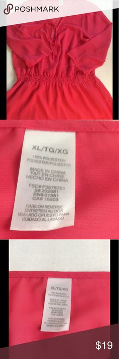 """Avon Beautiful Feminine Sheer Coral Blouse XL Dear Readers, This listing is for a like new Beautiful Sheer Top size XL. It has an elastic waist. Length is about 30"""", pit to pit is about 21"""" and elastic band is about 18"""" down and about 15 1/2"""" across. Has ties which I made into a bow, but can leave loose or style as you wish. Would look fabulous with a tank, white jeans, skirt, black or matching bottom. Endless possibilities. Will ship quickly. Get it before it's gone. Avon Tops Blouses"""